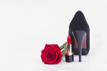lipstick, shoes and roses