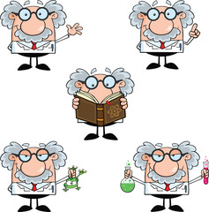 Funny Scientist Or Professor Different Poses 2  Collection Set