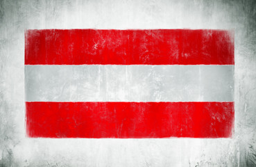 Painting Of The National Flag Of Austria