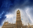 Storm over Houses of Parliament - London