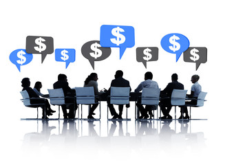 Silhouette of Business Meeting Discussing Dollar Currency