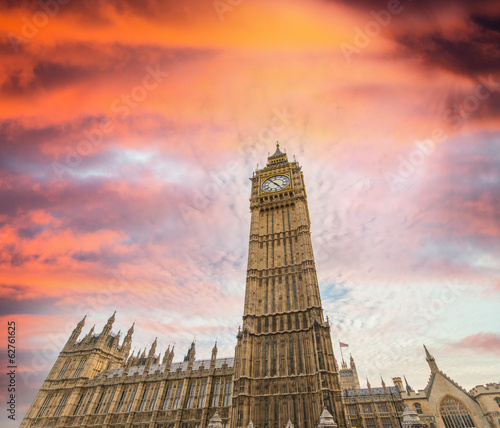 Westminster Palace under a beautiful sunset sky - London