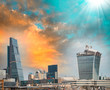 London. Business quarter skyline at dusk