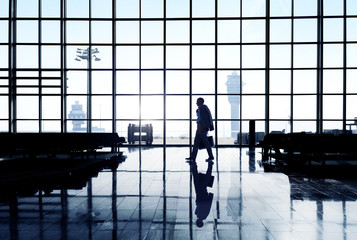 Silhouette Of A Businessman At Airport Terminal