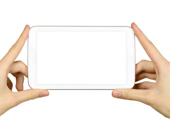 Man is holding tablet