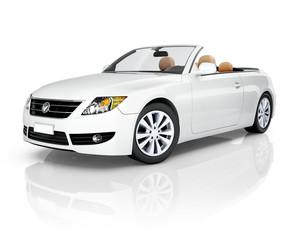 White 3D Convertible Car