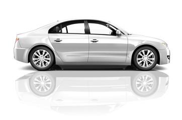 3D Silver Sedan Car