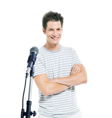 Handsome Man With Microphone