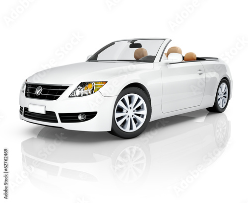 White 3D Convertible Car