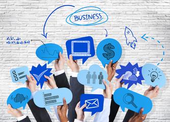 Business Hands Holding Speech Bubbles