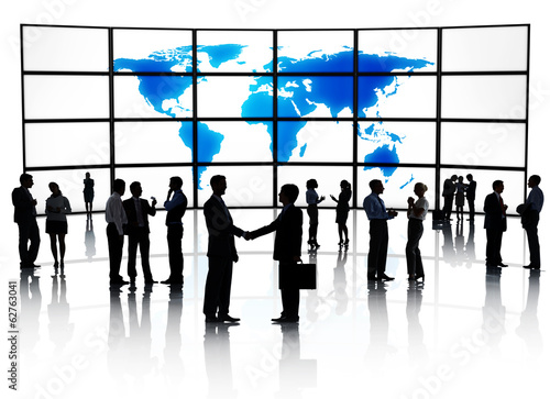 Silhouette of Global Business Agreement