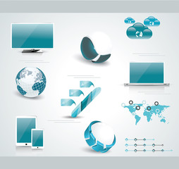 Set of  web Icons and business and abstract symbols