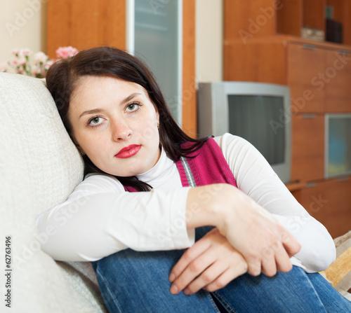 unhappy brunette woman