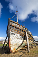 Boat wreck at Burghead Harbour, Highlands of Scotland.