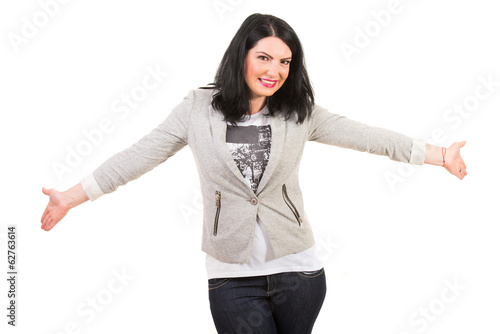 Casual woman with open hand