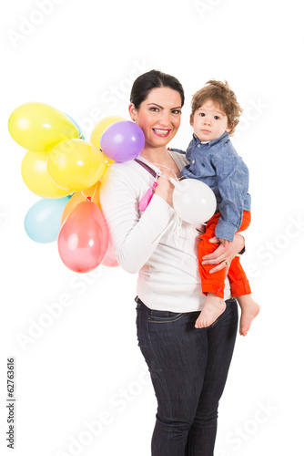 Mother and toddler with many balloons