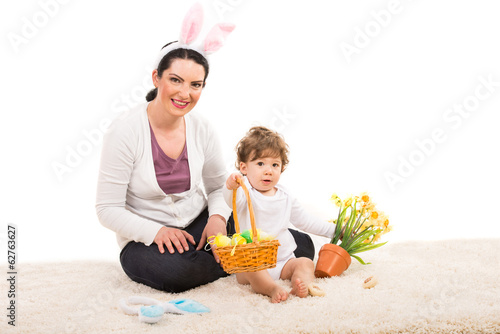 Mom and boy giving Easter basket