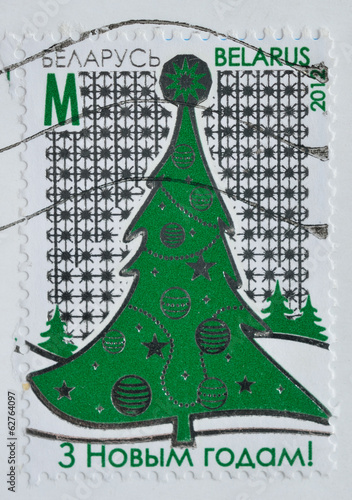 Belarus postage shows a christmas tree, printed 2012