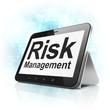 Business concept: Risk Management on tablet pc computer