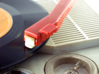 Detail shot of a record player