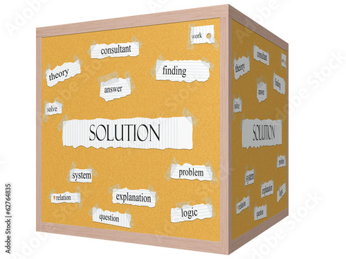 Solution 3D cube Corkboard Word Concept