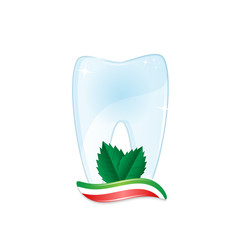 Healthy tooth with toothpaste and mint leaves isolated on white