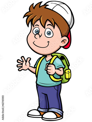 Vector illustration of boy go to school