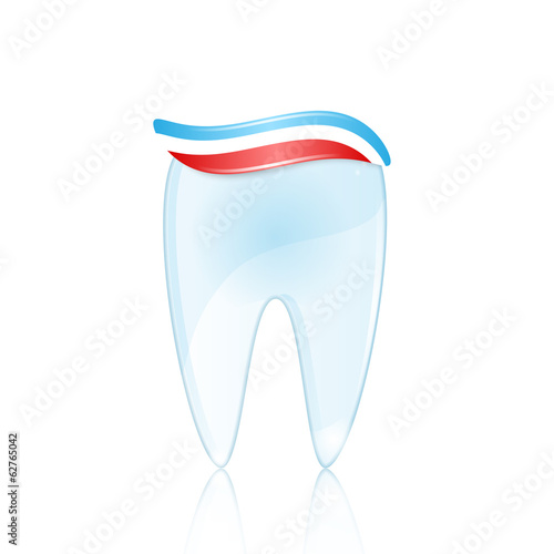 Healthy tooth with toothpaste isolated on white background