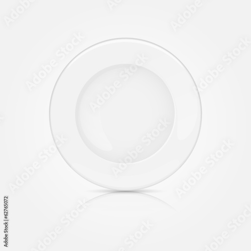 White clean plate on a white background