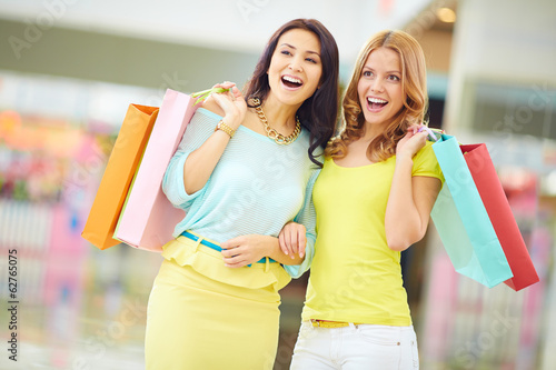 Surprised shopaholics