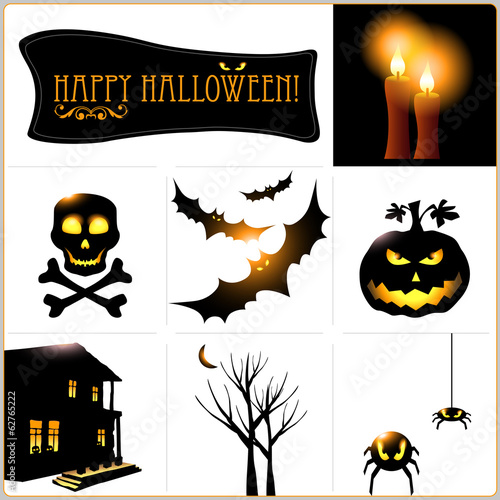 Halloween vector icons set. Vector art.