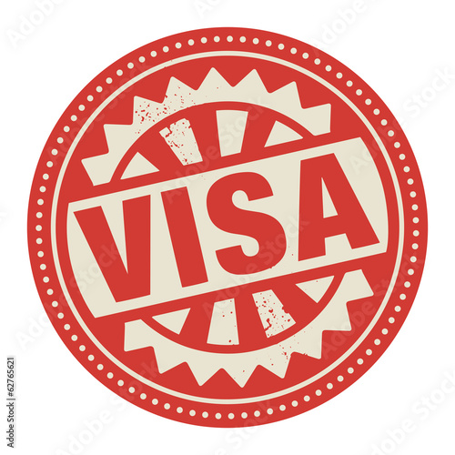 Abstract stamp or label with the text Visa written inside