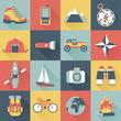 set of flat adventure traveling icons