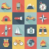set of flat adventure traveling icons - 62766011