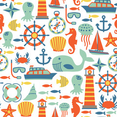 seamless pattern with sea icons
