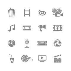 set of monochrome movie icons