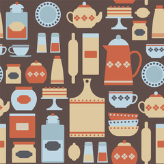 seamless pattern with kitchen icons