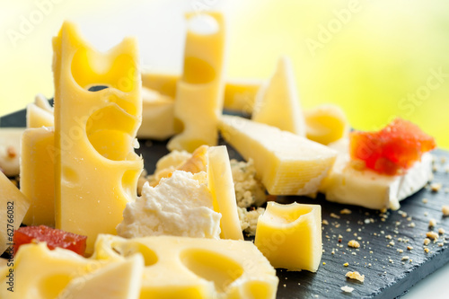 Close up detail of cheese platter.