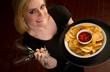 Beautiful Blode Server Waitress Carries Tray Wine Glasses