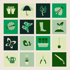 Set  icons of Gardening and spring symbols