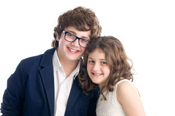 Brother and Sister shot on white background..
