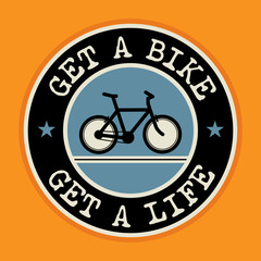 Abstract label or poster with bicycle, vector