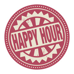Abstract stamp or label with the text Happy Hour written inside