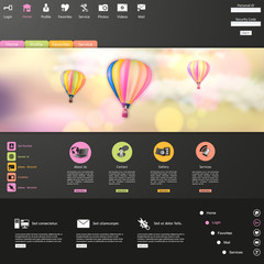Website Template Vector /with hot air balloon