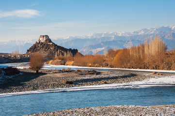 Stakna Monastery from opposite bank of river Indus