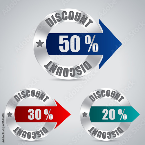 Metallic discount badge set