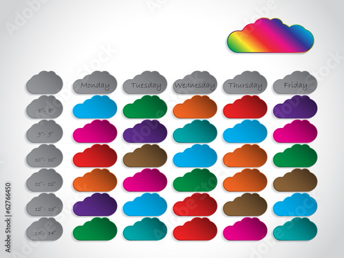 Timetable background design with color clouds