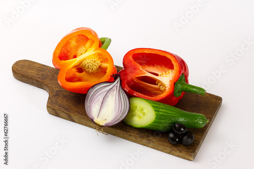 Fresh vegetable on the breadboard