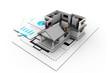 3d House model on a plan