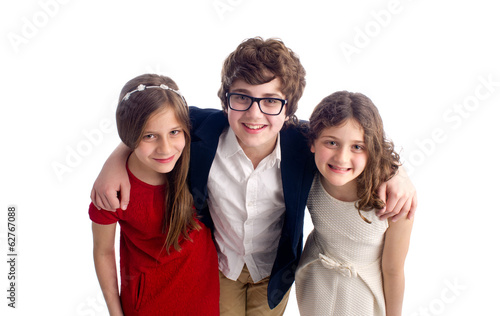 Family shot of a brother and two sisters isolated